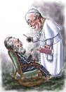 Cartoon: Castro_Francis (small) by Bob Row tagged castro francis guevara cuba religion revolution