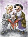 Cartoon: Obama_Khomeini_Netanyahu (small) by Bob Row tagged obama,khomeini,netanyahu,usa,iran,israel,nuclear,treaty