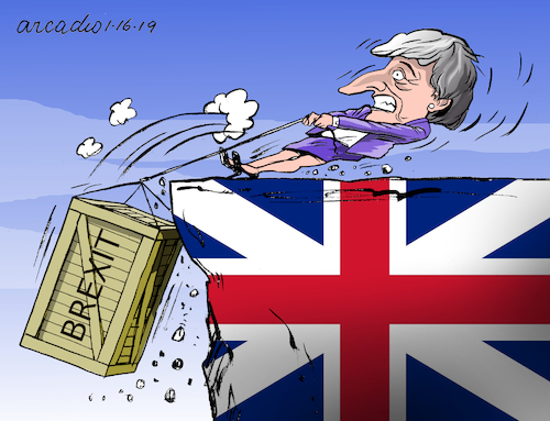 Cartoon: Brexit and May in trouble. (medium) by Cartoonarcadio tagged may,euro,europe,economy,brexit
