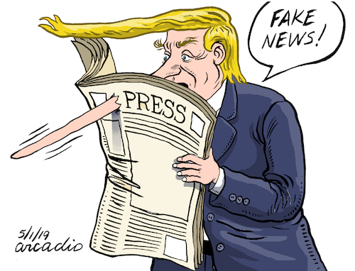 Cartoon: Fake news or... (medium) by Cartoonarcadio tagged trump,fake,news,media