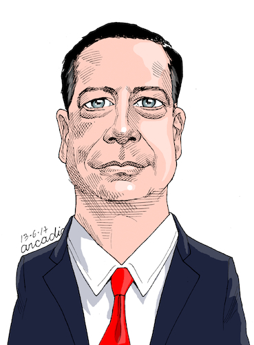 Cartoon: James Comey USA. (medium) by Cartoonarcadio tagged comey,usa,us,government,trump,politicians,fbi