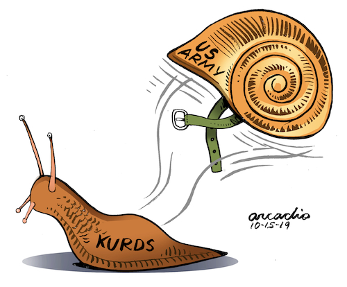 Cartoon: Kurds abandoned by US Troops. (medium) by Cartoonarcadio tagged middel,east,conflict,kurds,usa