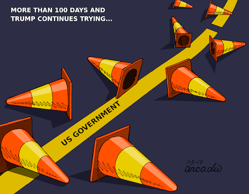 Cartoon: More than 100 days... (medium) by Cartoonarcadio tagged trump,us,government,usa,100,days