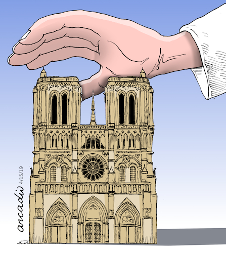 Cartoon: Paris sadness. (medium) by Cartoonarcadio tagged notre,same,paris,france,europe,catholicism
