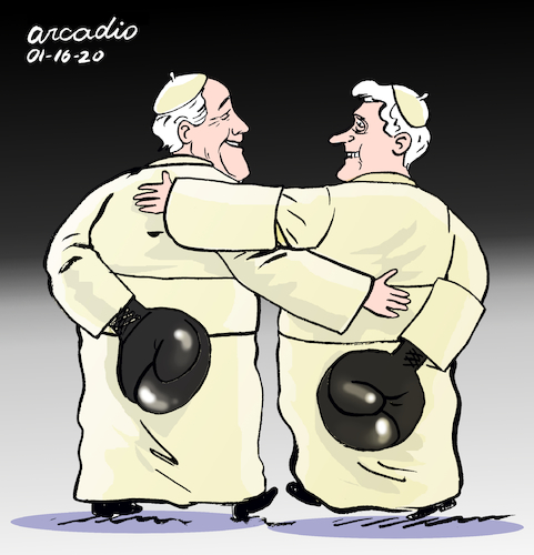 Cartoon: The two Popes (medium) by Cartoonarcadio tagged pope,francis,benedict,vatican,catholic,church,religion,europe