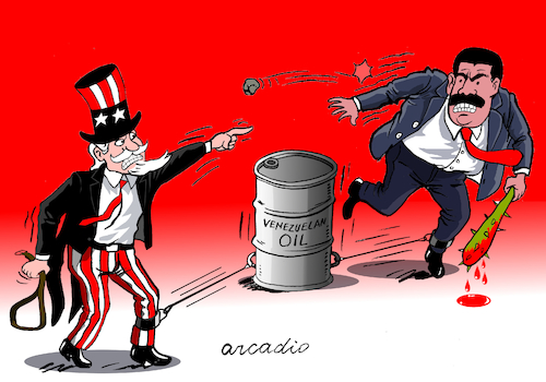 Cartoon: The venezuelan oil in the middle (medium) by Cartoonarcadio tagged maduro,oil,latin,america,usa,conflict,the