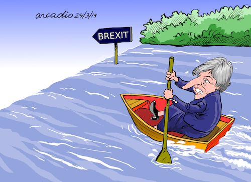 Cartoon: Theresa May to the abyss (medium) by Cartoonarcadio tagged may,england,united,kindomg