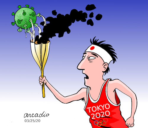Cartoon: TOKYO 2020 POSTPONED. (medium) by Cartoonarcadio tagged tokyo,2020,sports,olympic,games,japan
