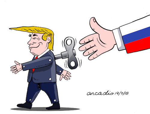 Cartoon: Trump...rope doll. (medium) by Cartoonarcadio tagged trump,russia,friendship,usa