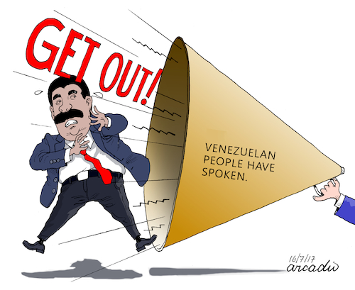Cartoon: Venezuelan people have spoken (medium) by Cartoonarcadio tagged venezuela,maduro,socialism,latin,america