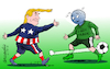 Cartoon: Dribbling free trade. (small) by Cartoonarcadio tagged trump,politics,white,house,us,president