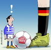 Cartoon: Greece vrs. Germany (small) by Cartoonarcadio tagged germany,greece,crisis,football,economy