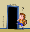 Cartoon: School in times of coronavirus. (small) by Cartoonarcadio tagged children,schools,europe,world,pandemic