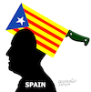 Cartoon: The headache of Spain (small) by Cartoonarcadio tagged spain,catalonia,rajoy,puigdemon,europe,independence