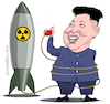 Cartoon: The Rocketman. (small) by Cartoonarcadio tagged kim,jong,un,trump,usa,north,korea,asia,america,weapons