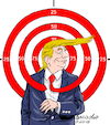Cartoon: Trump becomes in a target. (small) by Cartoonarcadio tagged trump,white,house,press,foreign,policy