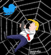 Cartoon: Trump trapped in the net. (small) by Cartoonarcadio tagged trump,internet,twitter,president,usa,america