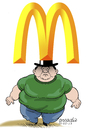Cartoon: With the food in the head. (small) by Cartoonarcadio tagged food,head,fast,hamburguer,meat,fat