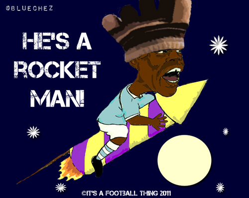 Cartoon: Balotelli - Over the Moon (medium) by bluechez tagged mario,balotelli,manchester,city,rocket,firework,football,premiership