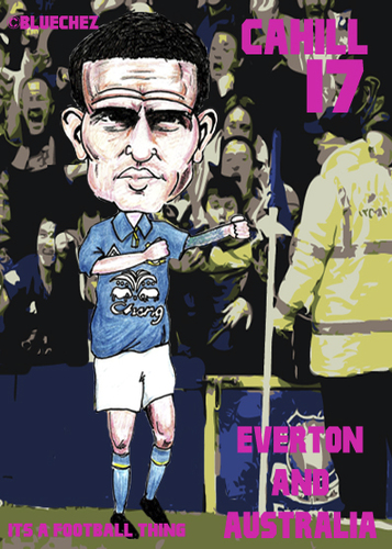 Cartoon: Tim Cahill - Everton and Austral (medium) by bluechez tagged tim,cahill,everton,australia,football,premiership