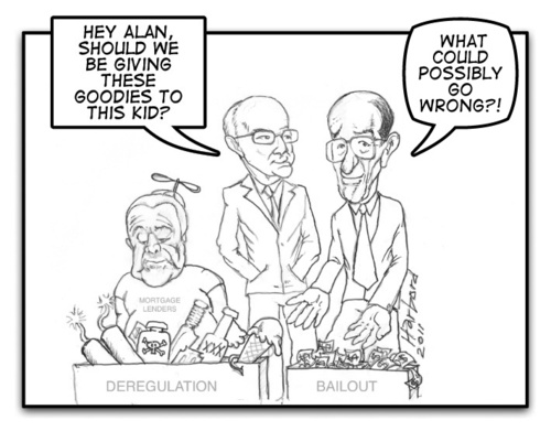 Cartoon: Greenspan Gramm Goodies (medium) by Harbord tagged alan,greenspan,phil,gramm,angelo,mozilo,2008,crisis