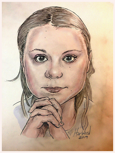 Cartoon: Greta Thunberg (medium) by Harbord tagged greta,thunberg,global,warming,activist