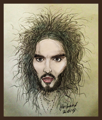 Cartoon: Russell Brand (medium) by Harbord tagged russell,brand,british,comedian