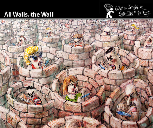 Cartoon: All Walls The Wall (medium) by PETRE tagged socialnets,facebook,tweeter,communication