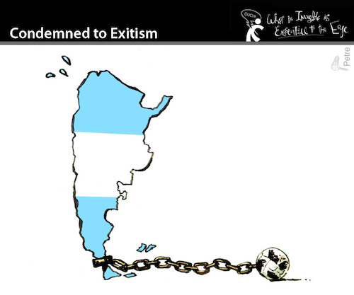 Cartoon: Condemned to Exitism (medium) by PETRE tagged russia2018,worldcup,argentina,football