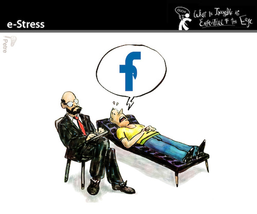 Cartoon: e-Stress (medium) by PETRE tagged facebook,nets,impotence,psychoanalysis