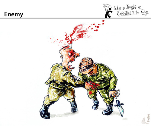 Cartoon: Enemy (medium) by PETRE tagged war,fight