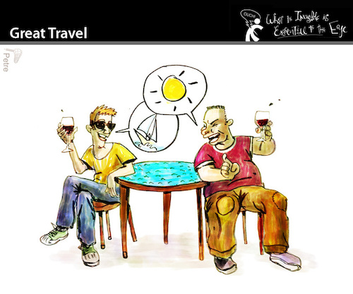 Cartoon: Great Travel (medium) by PETRE tagged friendship,friends,chat