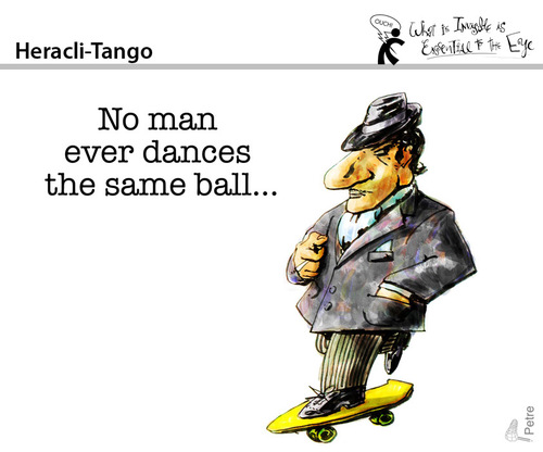 Cartoon: Heracli-Tango (medium) by PETRE tagged dance,tango,philosophy,heraclitus