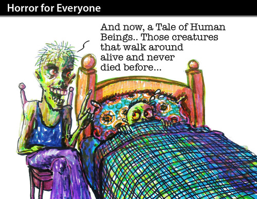 Cartoon: HORROR FOR EVERYONE (medium) by PETRE tagged zombies,horror,tales
