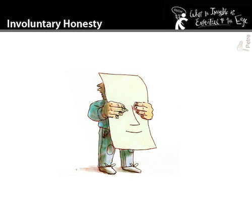 Cartoon: Involuntary Honesty (medium) by PETRE tagged honesty,involuntary,banner,demonstrator