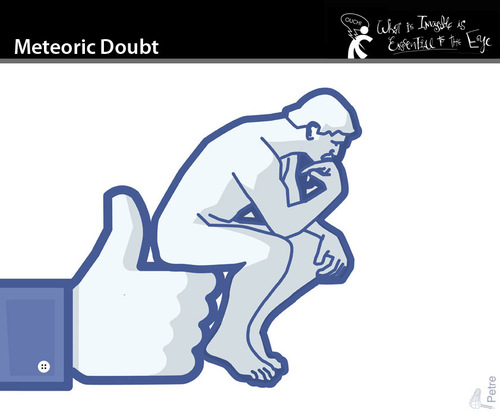 Cartoon: Meteoric Doubt (medium) by PETRE tagged thinker,rodin,facebook,like