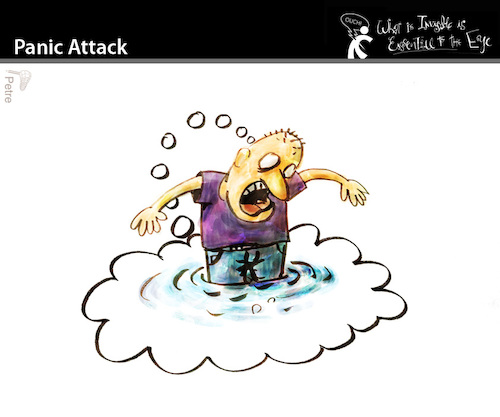Cartoon: Panic Attack (medium) by PETRE tagged pain,fear,psychic