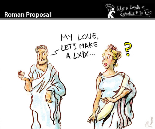 Cartoon: Roman Proposal (medium) by PETRE tagged romans,69,couples