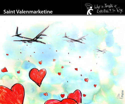 Cartoon: Saint Valenmarketine (medium) by PETRE tagged valentine,lovers,marketing