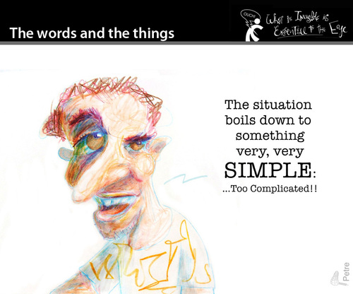 Cartoon: The Words and the Things (medium) by PETRE tagged people,toughts,ideologies,society,the