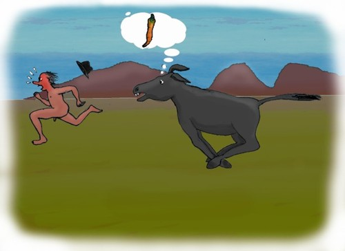 Cartoon: Carrot hunt (medium) by Hezz tagged donkey,hunting