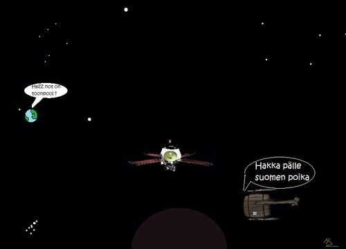 Cartoon: First ever sond  to Pluto (medium) by Hezz tagged space