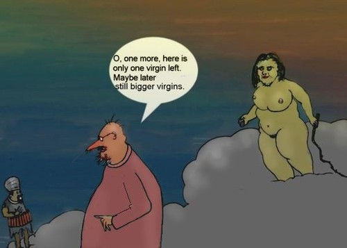 Cartoon: Lack of virgins for siuciders (medium) by Hezz tagged virgin,siucider,god,heaven