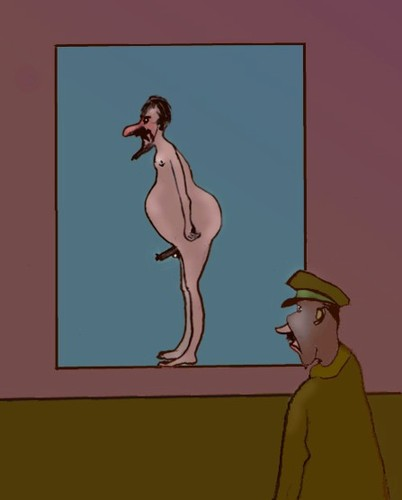 Cartoon: Naked scanning (medium) by Hezz tagged scanning,terror
