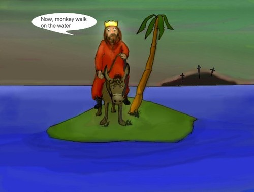 Cartoon: Who did they crucify that time? (medium) by Hezz tagged island,waterwalking