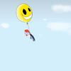 Cartoon: No more funny (small) by robertb tagged clown,dead,death,black,humour,humor,clouds,balloon,smiley,yellow,flying,happy