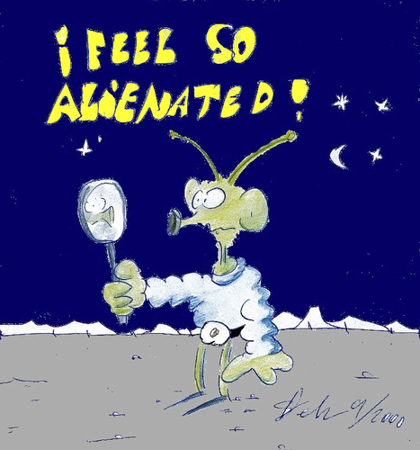 Cartoon: I feel so alienated (medium) by Matthias Stehr tagged alien