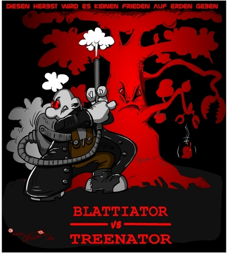 Cartoon: BlattiatorVsTreenador (medium) by Trumix tagged herbst,staubsauger,laubsauger,laubbläser