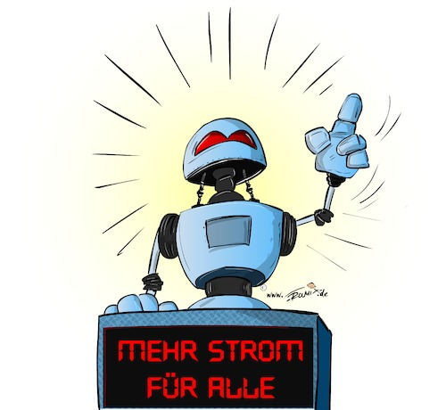 Cartoon: Strom fuer alle ... (medium) by Trumix tagged ki,robotik,arbeitswelt,roboter,digitalisierung,ki,robotik,arbeitswelt,roboter,digitalisierung