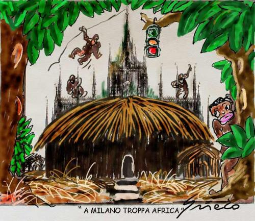 Cartoon: Milano Africa (medium) by Grieco tagged grieco,milano,africa